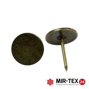 Płaska pinezka mosiądz 11 mm - 75 sztuk KP 4131